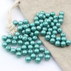 Round Beads Alabaster Aqua Green 6mm [10szt]