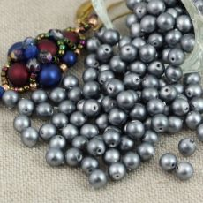 Round Beads Velvet Grey 4mm [50szt]