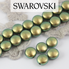 5860 Swarovski Crystal Iridescent Green Coin Pearl 10mm [2szt]