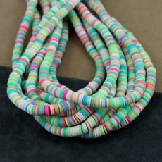 Heishi beads multi pastel green 6mm [sznur 40cm]