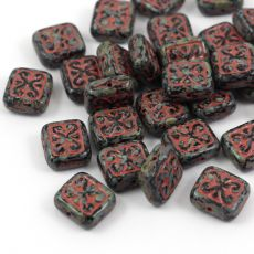 Patina Brick Beads Jet Pink 12x11mm [1szt]