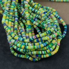 Heishi beads multi green 4mm [sznur 40cm]