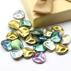 Rose Petals 14x13mm Crystal Golden Rainbow