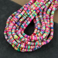 Heishi beads multi hot pink 4mm [sznur 40cm]