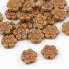 Anemone Flower Beads Opaque Dark Beige Bronze Patina 14mm [1szt]