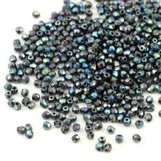 Fire Polish 2mm Jet Hematite AB [80szt]