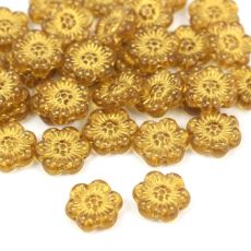 Anemone Flower Beads Topaz Gold Patina 14mm [1szt]