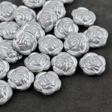 Rose Beads White Luster Silver Patina 16mm [1szt]