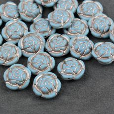 Rose Beads Opaque Turquoise Matte Light Pink Patina 16mm [1szt]