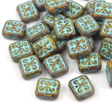 Patina Brick Beads Opaque Yellow Turquoise 12x11mm [1szt]