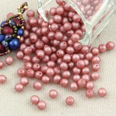 Round Beads Velvet Powder Pink 4mm [50szt]