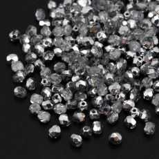 Fire Polish 4mm Silver 1/2 Coated Crystal [20szt]