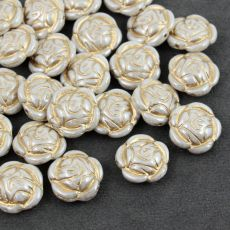 Rose Beads White Luster Golden Patina 16mm [1szt]