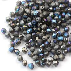 Fire Polish 4mm Crystal Etched Glittery Graphite [20szt]