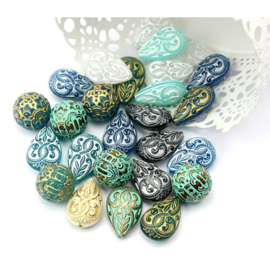 Vintage beads łezka White Aqua 27x18mm