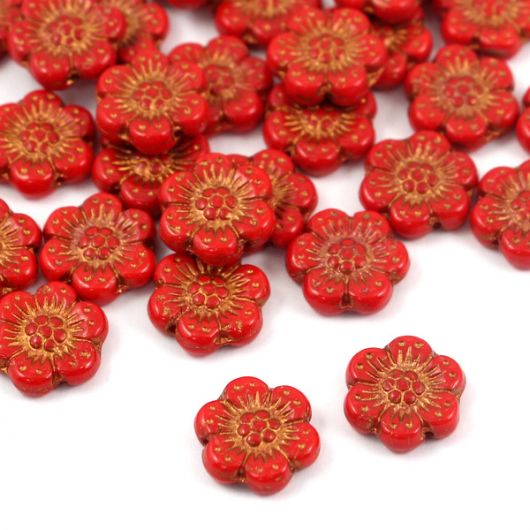 Anemone Flower Beads Opaque Red Coral Bronze Patina 14mm [1szt]