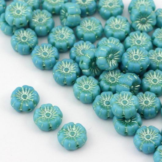Flower Beads Primula Turquoise Blue 8x5mm [10szt]
