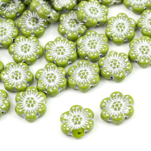 Anemone Flower Beads Opaque Olivin Silver Patina 14mm [1szt]