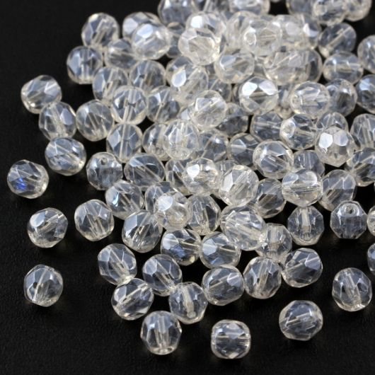 Fire Polish 6mm Crystal Snow White Iris Sfinx [20szt]