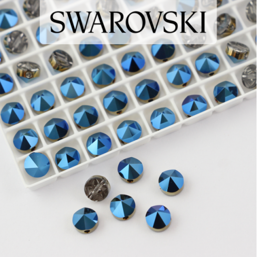 5062 Swarovski Metallic Blue Round Spike Bead 5,5mm - 1 hole [2szt]