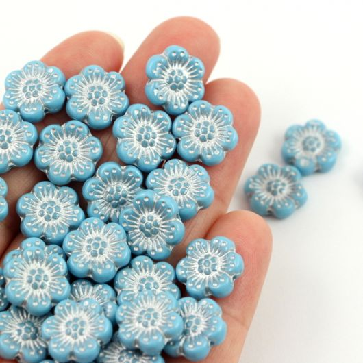 Anemone Flower Beads Opaque Turquoise Blue Silver Patina 14mm [1szt]