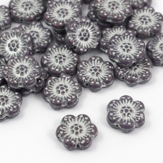 Anemone Flower Beads Opaque Amethyst Silver Patina 14mm [1szt]