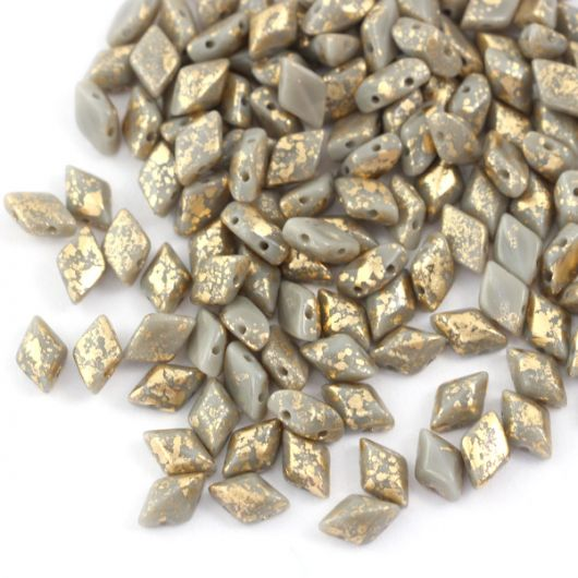GemDuo 5x8mm Gold Splash Gray Opaque [20szt]