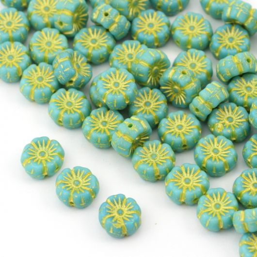 Flower Beads Primula Green Turquoise 8x5mm [10szt]